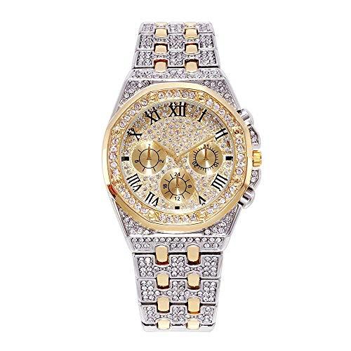 Reloj Bling Iced out para Hombre Reloj analógico con Esfera Redonda y Diamantes simulados de Diamantes de imitación de Cristal