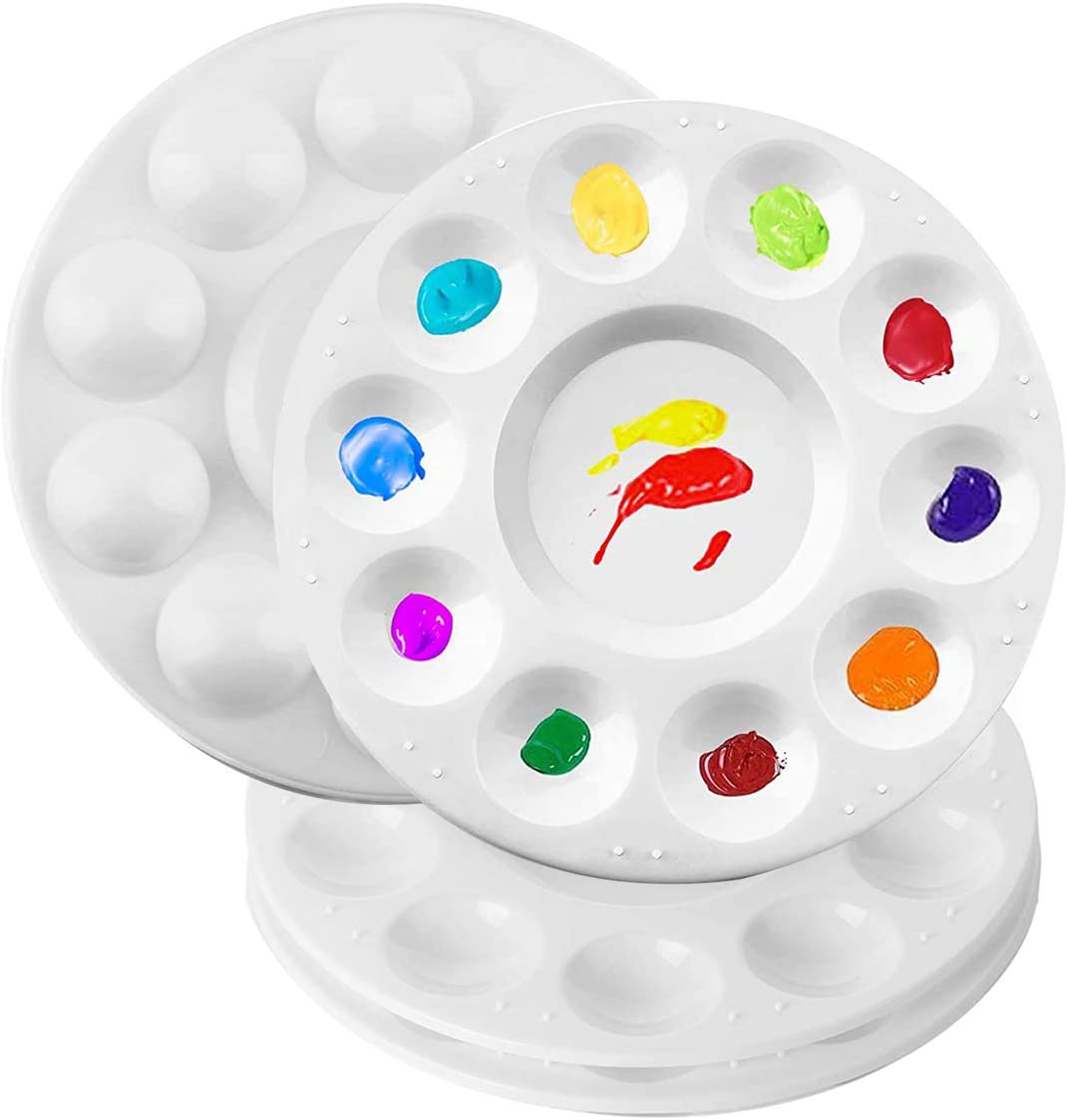 Paleta, 6.69 pulgadas redonda de plástico para niños y adultos, paleta de pintura para acuarela, gouache, pintura al óleo, pintura artística profesional (4 piezas)