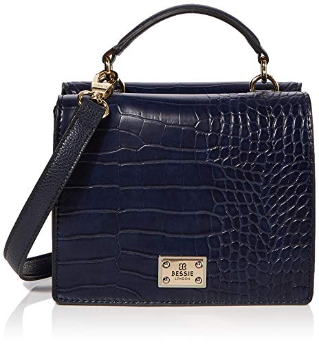 Bessie London Damen Handle Croc Flap Top Henkeltasche, Blau (Navy), 11x14x19 Centimeters