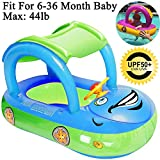 iGeeKid Baby Inflatable Pool Float with Canopy, Car Shaped Swim Float Boat