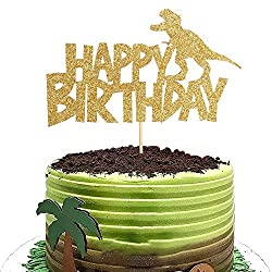 5. Artczlay Creative Golden Glitter Tyrannosaurus Rex Happy Birthday Cake Topper