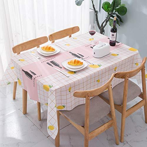 Mantel / mantel estampado estilo escandinavo Mantel PEVA impermeable y a prueba de aceite Mantel rectangular (sin lavar) Adecuado para jardín, comedor, sala de estudio, sala de estar 137*180 A