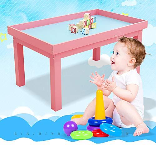 ROCK1ON Deluxe Hartholz Aktivität Spieltisch für Kinder, Massivholz Kinder Sand Tisch für Spielzimmer/Kindertagesstätte/Vorschule (Natur/Gelb/Pink),Pink
