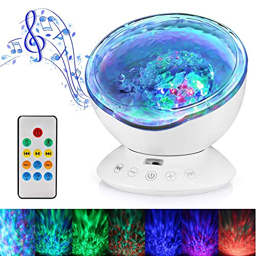 Hallomall Ocean Wave Projector (Night Light Lamp, Built-in Music, Color Changing Modes - Perfect for Nursery Bedroom)
