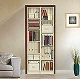 FLFK 3D Bücherregal-Kabinett Wohnzimmer Türtapete