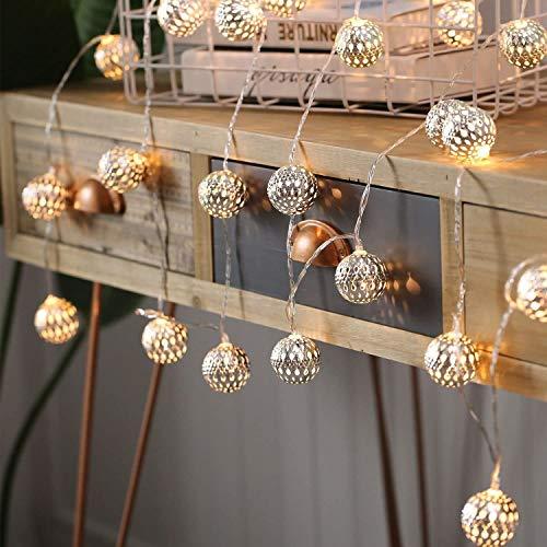 LED Globe Lichterkette,Eyscoco 6M 40 LED Dekorative Kleine Marokkanische Kugeln,Batteriebetriebene Wasserdicht Außen Innen Lichterketten für Hochzeit,Weihnachten, Zimmer Party Garten Deko (Warmweiß)