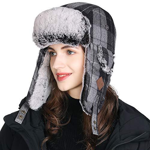 Fancet unisex snygg ull pläd fångarhatt fuskpäls öronflik jakt rysk ushanka hatt vinter utomhus skidor snöhatt varm tjock fodrad