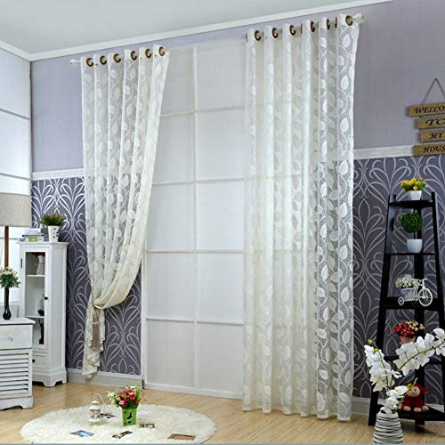 HM&DX Blätter Jacquard Transparent Voile Gardinen Mit ösen,1 Panel Dekorative Voile Vorhänge,lichtfilterung Tüll Vorhang Vorhänge Weiß 300x270cm(118x106in)