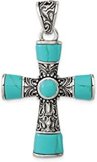 925 Sterling Silver Synthetic Blue Turquoise Cross Religious Pendant Charm Necklace Fine Jewelry Gifts For Women For Her