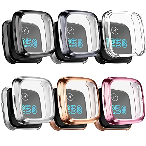 [6 Pack] Mugust Screen Protector Compatible with Fitbit Versa 2 Case, TPU Plated Full Around Protective Case Cover for Fitbit Versa 2 Smartwatch (Black, Gray, Silver, Rose Gold, Gold, Clear)