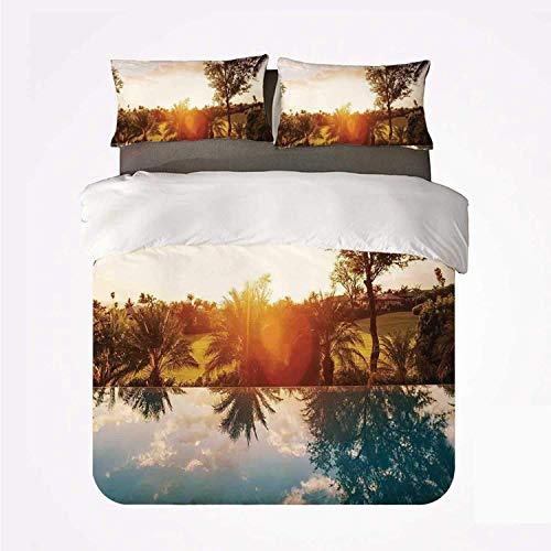 Casa con Piscina en Sunset Tropics Palms Private Villa Resort Vista panorámica,Juego de Ropa de Cama con Funda nórdica de Microfibra y 2 Funda de Almohada - 240 x 260 cm