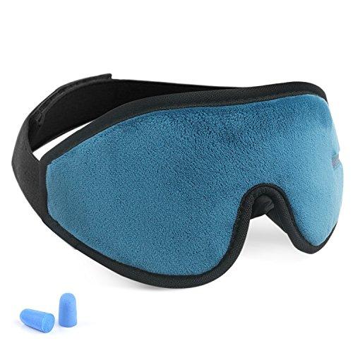 Eye Cover Sleeping mask for Woman and Men, Patented Design 100% Blackout Sleep Mask Comfortable Lightweight Eye Mask & Blindfold for Travel, Nap, Shift Works (Blue)