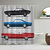 MANISENG Duschvorhang aus Polyestergewebe,Cars Collection Set von Old-Fashion-Autos 70er Jahre Icon Effects Usa Theme Design Art,mit 12 dekorativen Badvorhängen aus Kunststoffhaken 72 x 72 Zoll