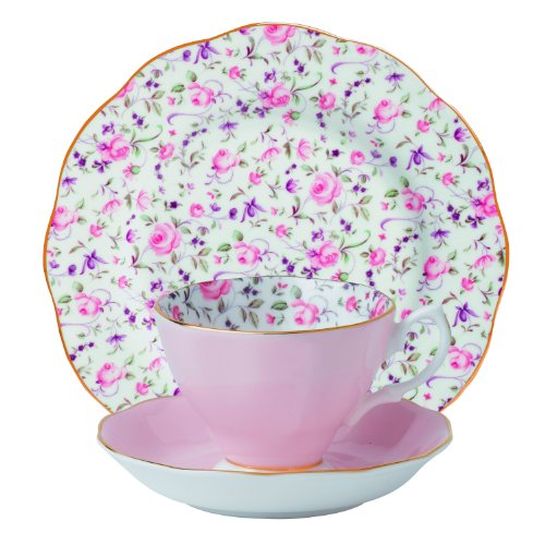 Learn More About Royal Albert 8704025870 New Country Roses Teacup, Saucer and Plate Set, Rose Confet...