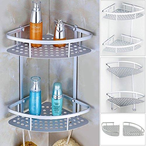 Pixnor – Étagère d'angle de douche à 2 niveaux – En aluminium – Argenté