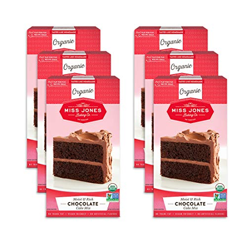 Miss Jones Baking Organic Cake and Cupcake Mix, Non-GMO, Vegan-Friendly, Moist and Fluffy: Chocolate (Pack of 6)