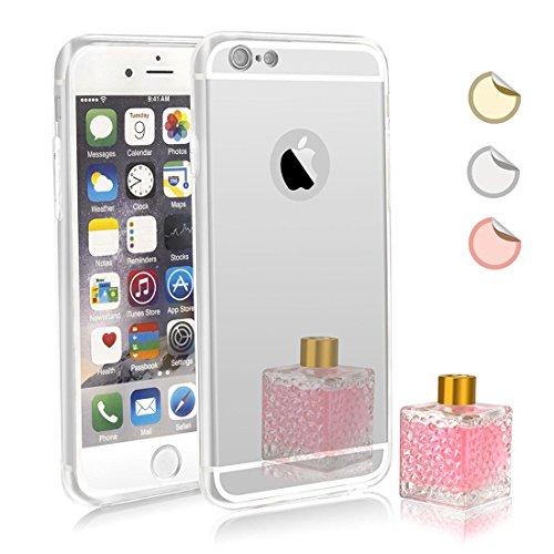 Capa espelhada para iPhone 6S Plus, capa espelhada para meninas, capa de luxo híbrida de vidro brilhante placa traseira à prova de choque para Apple iPhone 6 Plus/6s Plus (prata)