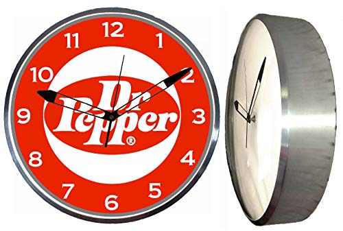 """Checkingtime LLC - 15"""" Dr. Pepper Vintage Style LED Lighted Pam Advertising Clock, Metal Shell, Real Glass"""