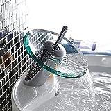Grifo del fregadero del lavabo de la cascada del cuarto de baño, grifo lateral de cristal pulido cromado, grifo de baño de...