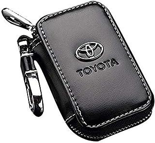 Toyota Black Leather Car Key Case Coin Holder Zipper Remote Wallet Key Chain Bag