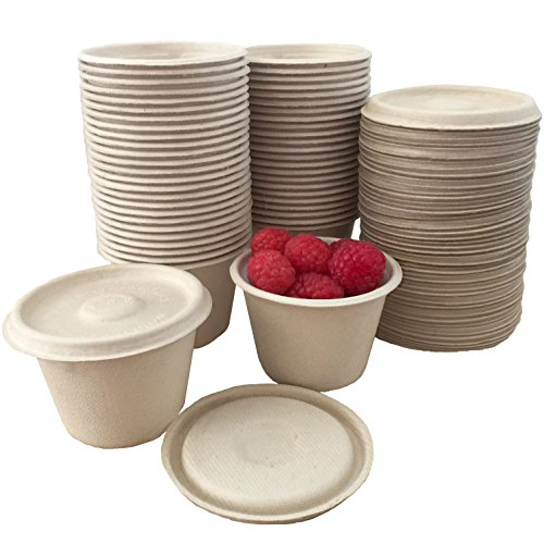 4 Ounce Souffle Cups and Lids  100% Biodegradable and Compostable  Bagasse/Wheat Fiber  50 Pack Outside the Box Papers Brand