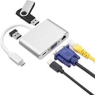 WMWHALE USB-C Tipo-C HUB 5 em 1 PD 20V, 5A+USB3.0 5Gbps + Placa de rede 1000M + Placa de vídeo externa VGA 1080P@30HZ para...