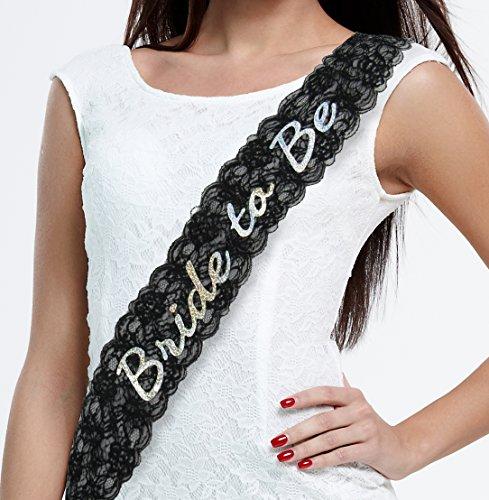 Bachelorettesy Bride to Be Sash - Black Lace Bachelorette Party Sash, Bridal Shower Gift