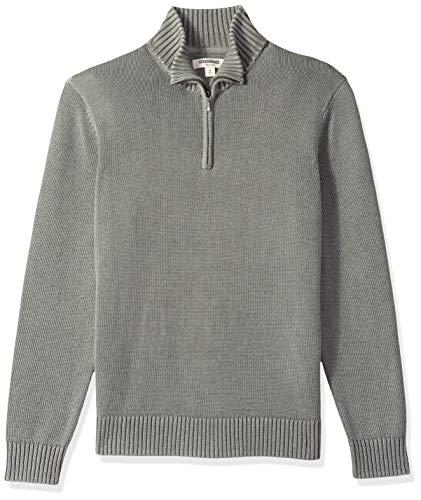 Marque Amazon – Goodthreads Pull en Coton Doux avec Fermeture éclair Courte pour Homme, Gris (Washed Grey Wgr), S