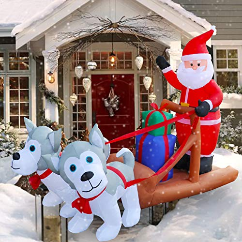 SEASONBLOW 8 Ft LED Inflatable Christmas Eskimo Dog Pull Sleigh take Santa Claus for Yard Lawn Garden Home Party Indoor Outdoor