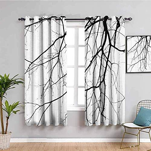 ZLYYH Gardinen Schwarz Zweige Bäume Pflanzen 229x274cm Blickdichter Vorhang 2er Ösen Set Gardinen Sonnenschutz Verdunkelungsvorhang Kinderzimmer Vorhänge Blickdicht Wohnzimmer