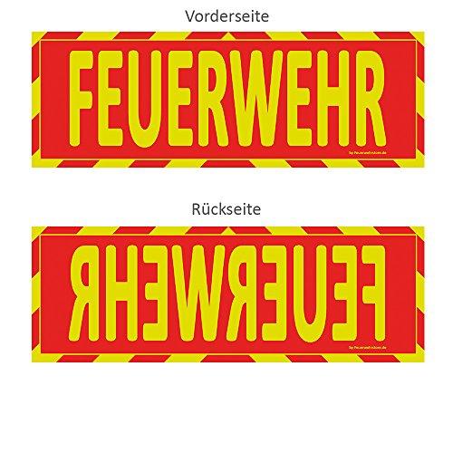 Einsatz-Wendeschild | Feuerwehr | WSB2 Sonnenblende Normal- & Spiegelschrift | Auto KFZ | Warn-Schild |