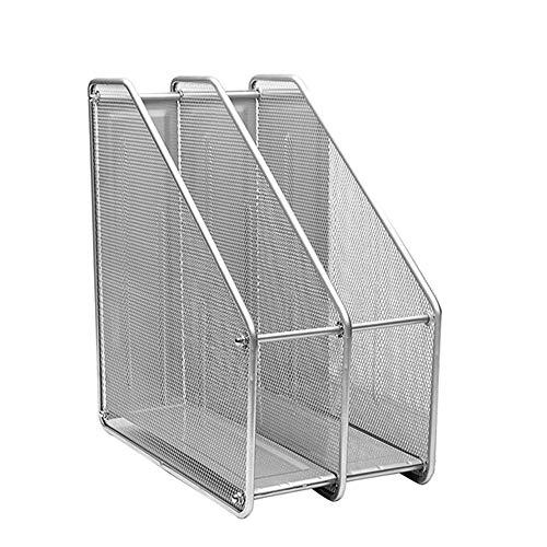 Compartimentos Revistero archivador de Malla metálica Revistero archivador triple de malla metálica/Archivadores de revistas/Estante para escritorio (2Archivos, Plata)