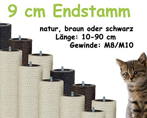 Kratzbaumland 9 cm Endstamm mit Stehbolzen, Ersatzstamm für Kratzbaum: Länge: 15 cm/Gewinde: 8 mm (M8), Farbe des Sisalseils - Natur