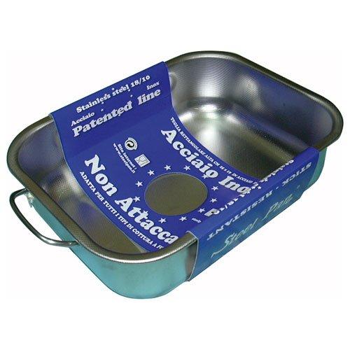 steel pan SP11160 Plat RECTANGULAIRE INOX, Acier Inoxydable, Argent, 25 x 19 x 6,5 cm
