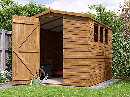 Dunster House 2.5m x 2.5m (7.6'x8') Heavy Duty Apex Shed Large Pressure Treated Wooden Garden Building - Adam III