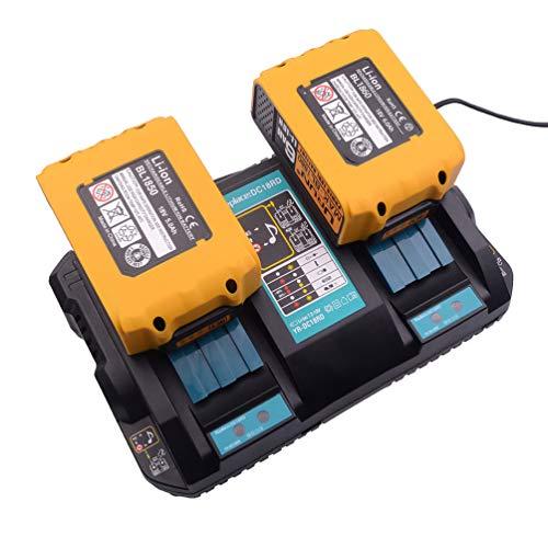 4A Dual Port Ladegerät mit 2 Stücken BL1850 Batterie 18V 5.0Ah Ersatz für Makita Akku-Kettensäge DUC122Z Akku-Heckenschere DUH523Z Staubsauger DCL182Z DCL180Z Akku-Bohrschrauber DDF482Z DHP482Z