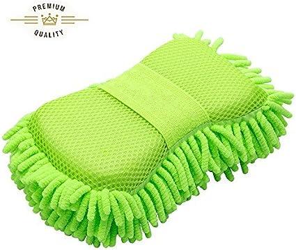 Fms Mikrofaser Autoschwamm Autowäsche Schwamm Reinigungsschwämme Waschhandschuh Weich Korallen Autowaschhandschuh Autowäsche Chenille 1 Stück Green Auto