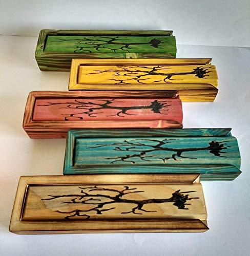 Plumier de madera, caja para incienso de madera reciclada de palet ...