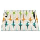 Uliykon, set di 4 tovagliette in vinile con motivo geometrico Starburst, stile vintage, lavabile, antiscivolo, isolamento termico, per cucina, ristorante, 45 x 40 cm