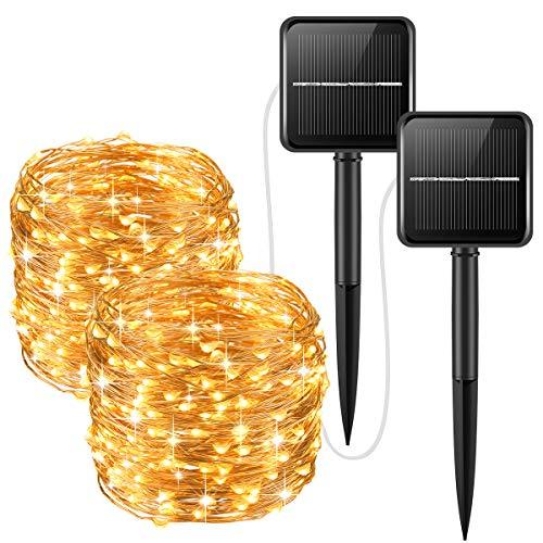 Oria 10ML Guirlande Lumineuse, Lumière de Chaîne Solaire, 2 Modes 100 LED Lumières Décoratives, Imperméable à la Lumière Solaire de Noël pour Jardins, Patios, Mariage, Décorations de Fêtes - 2PCS