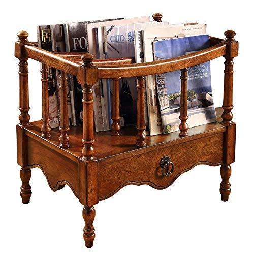 LQH Estante de Madera de Goma de Madera sólida del periódico, Hacer el Viejo Antiguo con el cajón del Escritorio Sala de Almacenamiento de baño