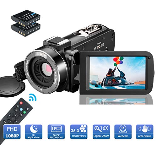 MELCAM Videocámara 1080P 36MP Camcorder IR Visión Nocturna Youtube Vlog Cámara Web 3.0' Pantalla IPS 16X Zoom Digital con Control Remoto