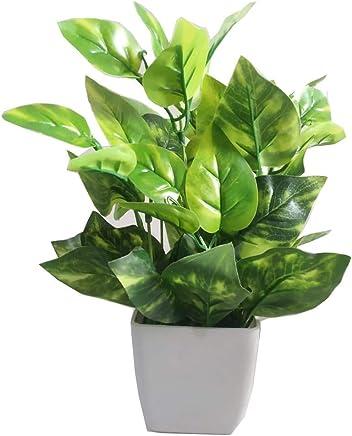 HYPERBOLES Artificial Green Money Plant Tree with Plastic Pot - 8 inch/20cm