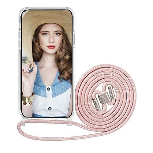xinyunew Funda con Cuerda para Xiaomi Mi 10T Lite 5G,Carcasa Transparente Ultrafina Rígida PC con Correa Colgante Ajustable Collar Correa de Cuello Cadena Cordón,Rose