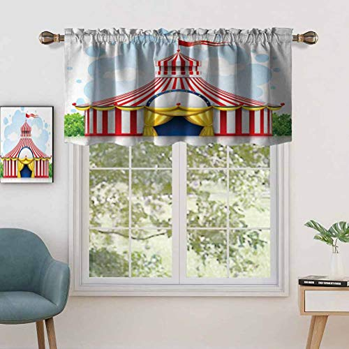 Short Curtains Valance Privacy Protection Striped Strolling Circus Marquee Tent with Flag Artwork Holiday, Set of 2, 54'x36' Window Drapes for Bathroom Kitchen Living Room