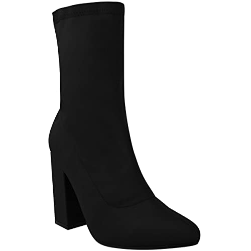 BLACK BLOCK HIGH HEELED SQUARE TOE SOCK ANKLE BOOTS HEELS SHOES SIZE 3 4 5 6 7 8