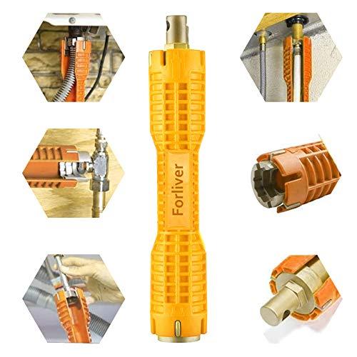 Herramienta de instalación de grifo y fregadero, 8 en 1, llave multiusos para la instalación de inodoros / lavabos / baños / cocinas herramientas de mano (amarillo)