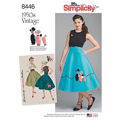 Simplicity US8446U5 Schnittmuster für Damenrock, 950er-Jahre, Vintage-Stil, Größen 44-52