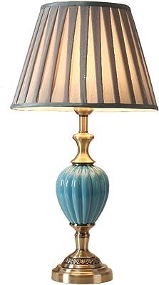 Caliente Creativa Lámpara De Salón Dormitorio De Noche Americana Azul Simple Lámpara De Mesa De Cerámica 33 X 61 cm: Amazon.es: Hogar