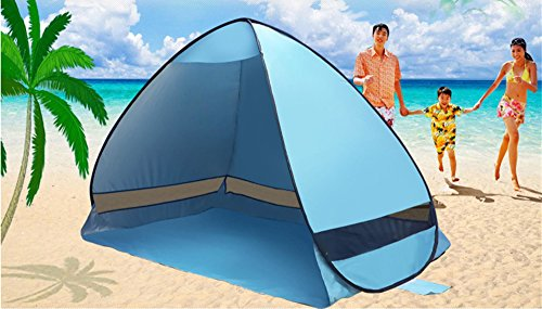 e-Joy Outdoor Automatic Pop up Portable Cabana Beach Tent, Blue